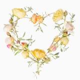 Fleurit la composition Vue faite de fleurs jaunes sur le fond blanc Configuration plate, vue supérieure Images libres de droits