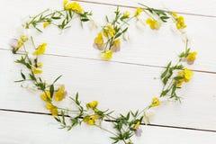 Fleurit la composition Vue faite de fleurs jaunes sur le fond blanc Configuration plate, vue supérieure Photo libre de droits