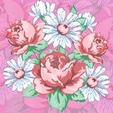 Fleurit la conception tirée par la main et florale de broderie, copie de tissu, dirige l'ornement floral Composition en fleur de  Photos libres de droits