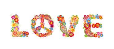 Fleurit la copie hippie Lettre d'amour Images libres de droits