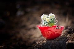 Fleurit le casque Image libre de droits