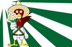Fleurit le fond mexicain de bande dessinée d'expressions de poulet illustration de vecteur