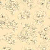 Fleurit sans couture orchidées fond de modèle d'illustration au trait Éléments de conception graphique Photo stock