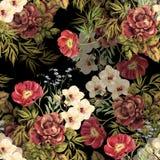 Fleurs élégantes de bouquet d'aquarelle Modèle sans couture floral sur un fond noir illustration stock