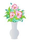 Fleurs abstraites dans le vase Photo stock
