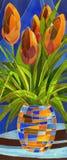 Fleurs abstraites dans un vase illustration stock
