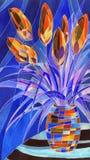 Fleurs abstraites dans un vase Images stock