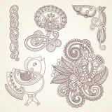 Fleurs abstraites de mendie de henné Photo stock