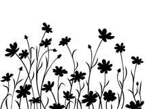 Fleurs abstraites de pré, frontière illustration stock