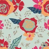 Fleurs abstraites modernes sur le modèle sans couture de fond vert illustration libre de droits