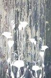 Fleurs abstraites sur la texture en bois de vintage Photos libres de droits