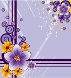 Fleurs abstraites sur le fond grunge Photo libre de droits