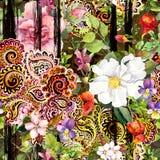 Fleurs au fond rayé noir Répétition du modèle floral avec la broderie fleurie décorative Aquarelle avec le noir Illustration de Vecteur