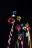Fleurs au néon sur un fond noir Image libre de droits