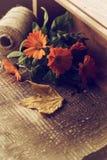 Fleurs automnales dans la boîte sur la table en bois. Carte postale. Image stock