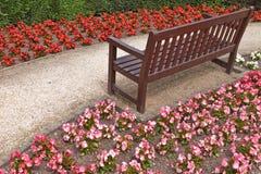 Fleurs autour d'un banc Photographie stock libre de droits