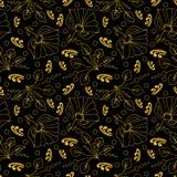 Fleurs avec des ornements d'or sur une couleur noire illustration stock