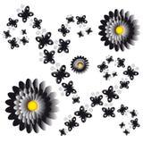 Fleurs avec des papillons sur le fond blanc Images stock