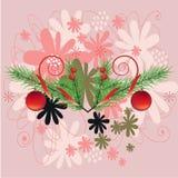 Fleurs avec le fond de Noël et le vecteur de carte de voeux Image libre de droits