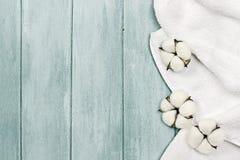 Fleurs blanches de serviette et de coton photo libre de droits