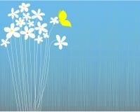 Fleurs blanches et papillon Photo libre de droits