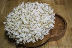Fleurs blanches parfumées (arbre de liège indien) dans le panier en bois Photos stock