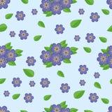 Fleurs bleues d'†sans couture de modèle « Photographie stock libre de droits