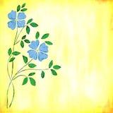 Fleurs bleues d'aquarelle Photo stock