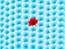 Fleurs bleues de fond et un rouge Images libres de droits
