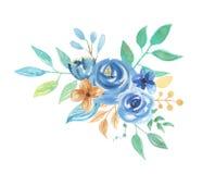 Fleurs bleues florales de mariage de disposition de feuilles de baies d'aquarelle illustration de vecteur