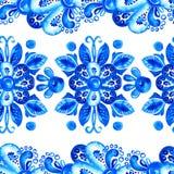 Fleurs bleues Frontière bleue ornementale d'aquarelle Photos stock