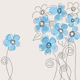 Fleurs bleues mignonnes illustration libre de droits