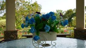 Fleurs bleues sur la table Photographie stock libre de droits
