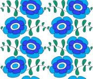Fleurs bleues sur un fond blanc, illustration a Photos libres de droits