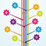 Fleurs colorées avec des lignes Images libres de droits