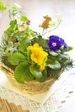 Fleurs colorées dans le panier Photo libre de droits