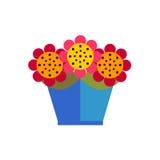 Fleurs colorées dans le pot sur le fond blanc Images stock