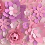 Fleurs colorées en pastel élégantes de papier sur le fond beige Saint-Valentin, Pâques, le jour de mère, épousant la carte de voe illustration libre de droits