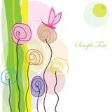 Fleurs colorées et vecteur de salutation de papillon Photos libres de droits