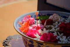 Fleurs colorées sur l'eau avec le soleil d'éclairage Photographie stock libre de droits