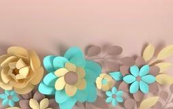 Fleurs color?es en pastel ?l?gantes de papier sur le fond beige Saint-Valentin, P?ques, le jour de m?re, ?pousant la carte de voe illustration stock