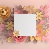 Fleurs color?es en pastel ?l?gantes de papier sur le fond beige Saint-Valentin, P?ques, le jour de m?re, ?pousant la carte de voe illustration libre de droits