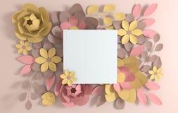 Fleurs color?es en pastel ?l?gantes de papier sur le fond beige Saint-Valentin, P?ques, le jour de m?re, ?pousant la carte de voe illustration de vecteur