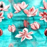 Fleurs - composition décorative watercolor Configuration sans joint Illustration Libre de Droits