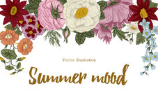 Fleurs cru Illustration de vecteur Carte élégante botanique Configuration florale Trame classique Photo stock