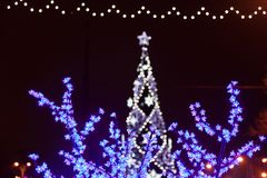 Fleurs décoratives d'ampoules d'arbre d'électricités la soirée du Nouveau an photographie stock