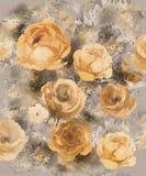 Fleurs décoratives d'or monochrome d'aquarelle sur un fond foncé - un grand modèle pour le papier peint illustration stock