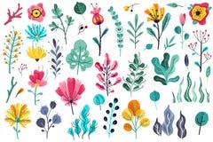 Fleurs d'été à plat Illustration florale d'anniversaire de ressort de beauté de jardin de fleur de floraison de nature floral illustration de vecteur
