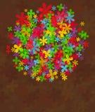 Fleurs d'été dans des couleurs d'arc-en-ciel sur le brun Photographie stock libre de droits