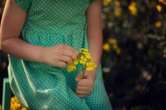 Fleurs d'été de cueillette d'enfant sur le champ jaune Enfants et nature photographie stock